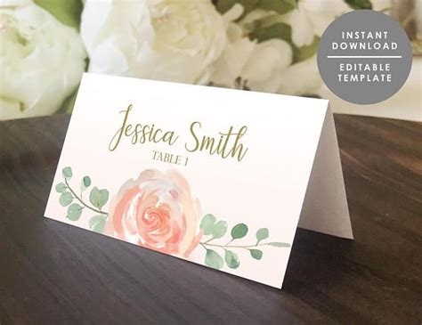 place card template printable guest  card folded