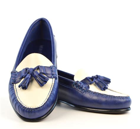 loafer shoes with blue white tassel loafer with leather sole the