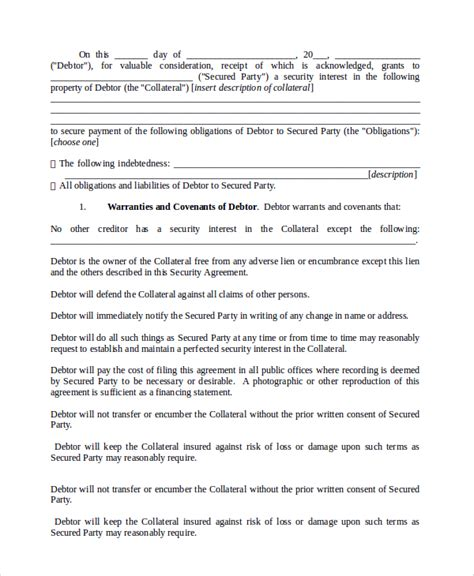 security agreement template sle commercial security agreement template 8 free