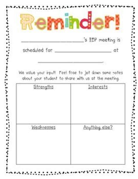 parent input and reminder form for iep meetings my job