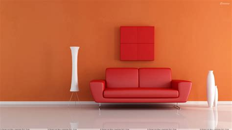 background sofa red sofa near white vase n orange background wallpaper