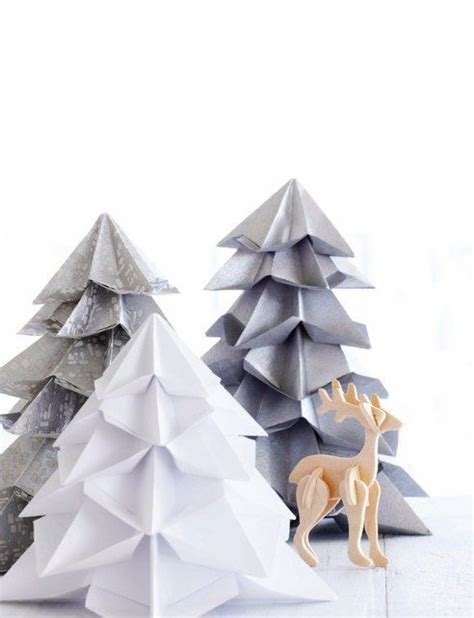 Winter Origami - origami trees holidays winter and