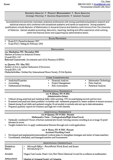 Actuarial Resume by Actuarial Analyst Resume Exle And 5 Tips For Writing