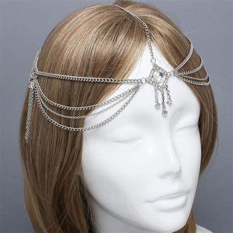 Headpiece Headchain 2012006 bohemian silver evil eye chain headpiece grecian headchain house of harlow style