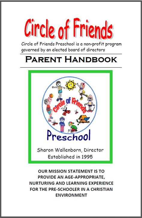 Child Care Handbook Template circle of friends preschool parent handbook
