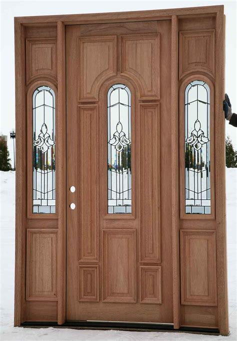 Wood Front Entry Doors With Sidelights Custom Wood Door With Sidelights And Fiberglass Insert For Rustic Modern House Design Ideas