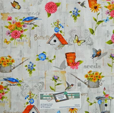 patchwork quilting fabric flower garden allover birds