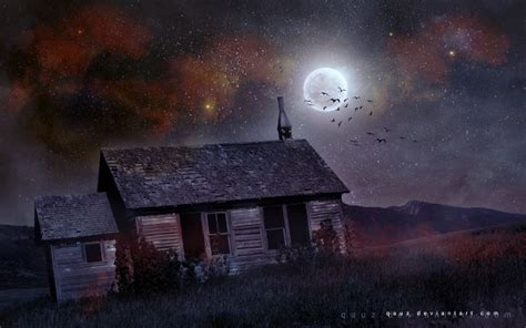 What House Is The Moon In by House Moon Birds Wallpaper