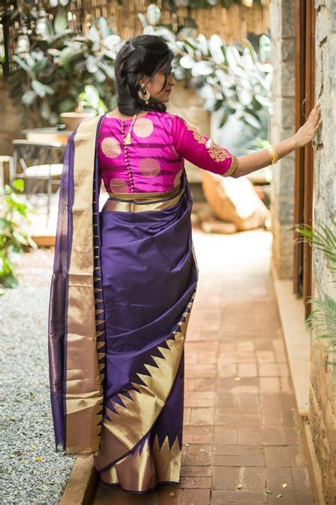 Graceful Navy Blue saree with Pink Blouse   Photo Gallery