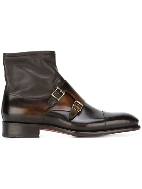 monk boots mens santoni monk ankle boots in brown for lyst
