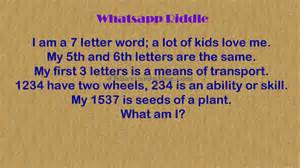 whatsapp riddle i am a 7 letter word bhavinionline