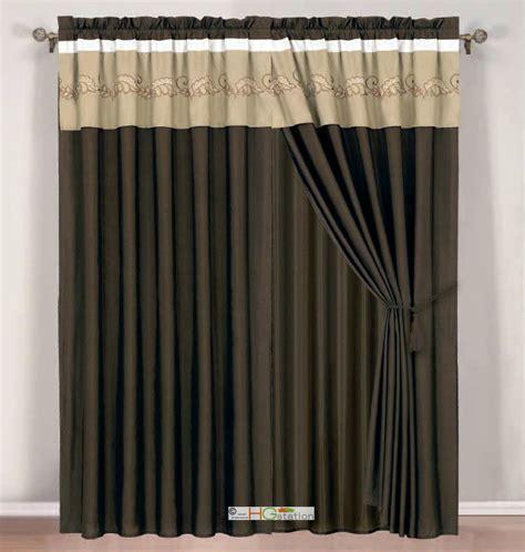 khaki curtains 4p botanic garden spores leaves embroidery curtain set