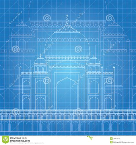 blue print designer blue print taj mahal stock illustration image of