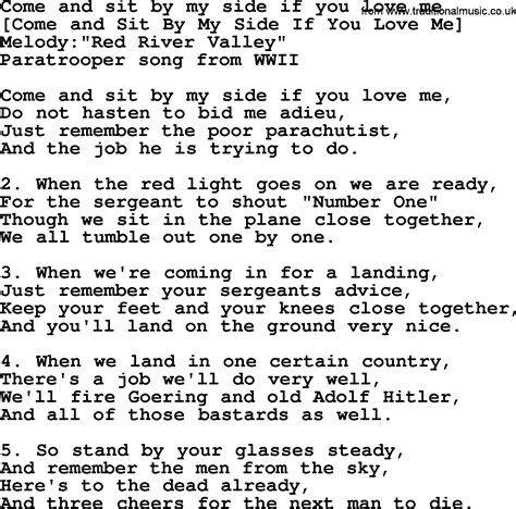 song by american song lyrics for come and sit by my side if