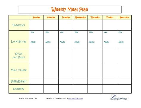 family menu planner template day care menus