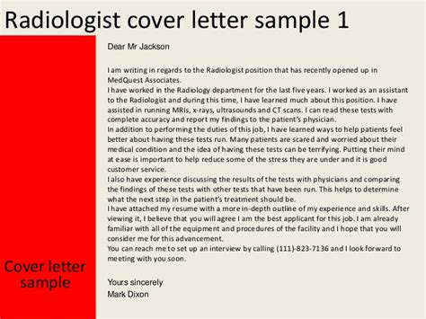 Radiology Cover Letter by Radiologist Cover Letter