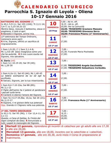 Calendario Quaresma 2016 Calendario Liturgico 10 17 Gennaio 2016