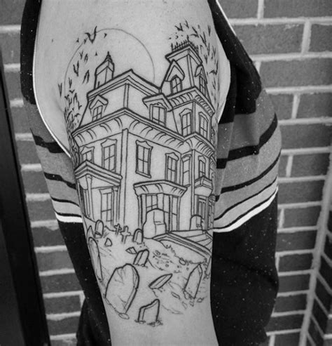 house of ink tattoo outline ink amazing haunted house tattoos on arm