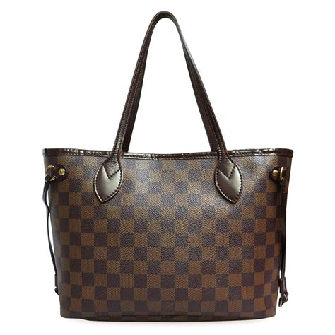 Lv Damier Brown louis vuitton canvas damier ebene neverfull pm small brown