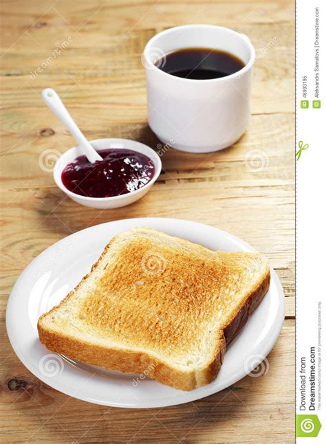toast coffee house toast with jam and coffee cup stock photo image 46993195