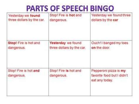 parts of speech printable board games game parts of speech bingo 25 unique cards levels 1 2