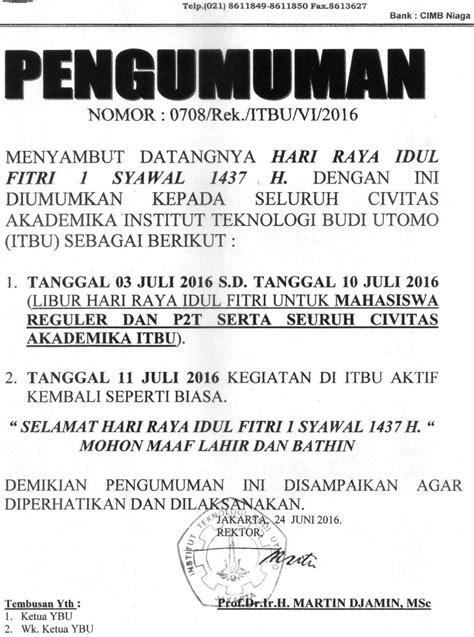 Sale Libur Idul Fitri 1 10 July 2016 pengumuman libur idul fitri 1437 h itbu