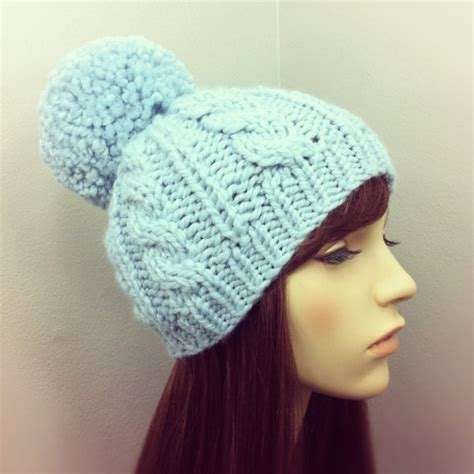 cable knit hat with pom items similar to knit hat womens chunky cable pom pom