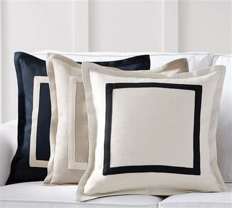 Pottery Barn Linen Pillow Covers by Textured Linen Frame Pillow Cover Pottery Barn