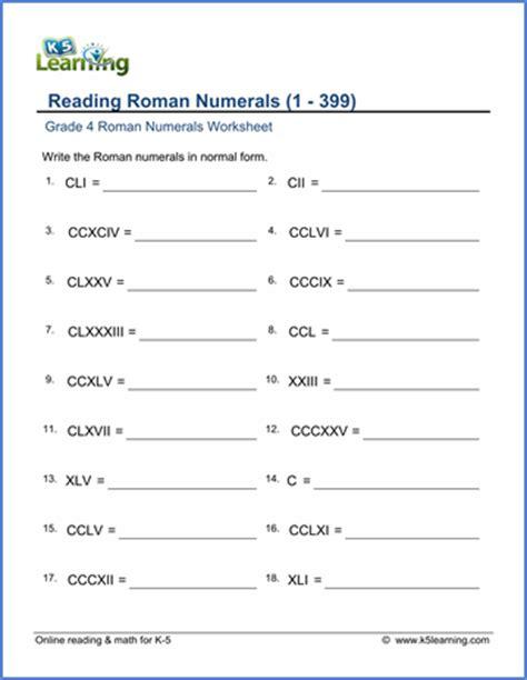 grade 4 roman numerals worksheets free amp printable k5