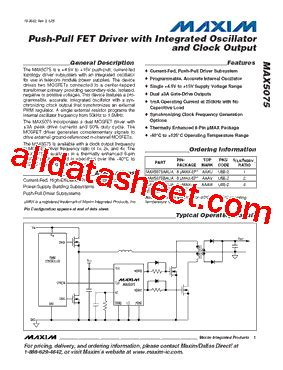 maxim integrated products management team max5075aaua datasheet pdf maxim integrated products