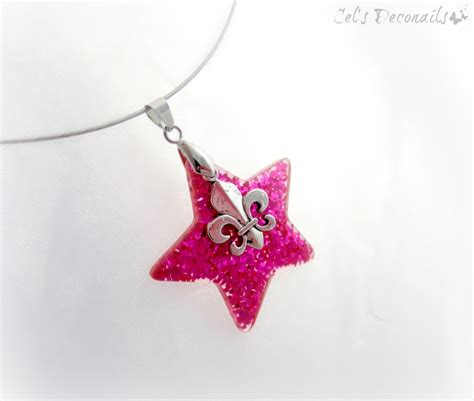 pink star necklace pink glitter star fleur de lis pendant necklace
