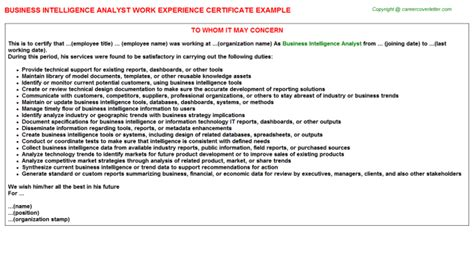 Experience Letter Business Analyst business intelligence analyst work experience certificate
