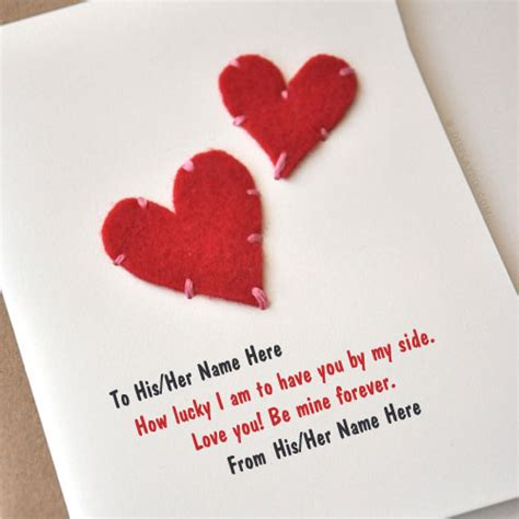 hearts card with name