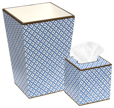 Blue White Diamond Wastebasket Tissue Box Set Blue And White Bathroom Accessories