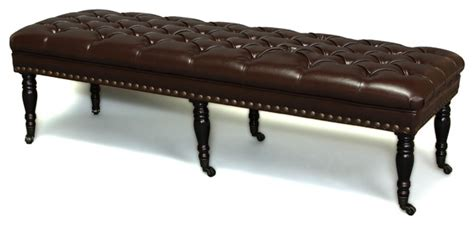 ottoman legs with casters vintage design caster legs brown leather ottoman bench