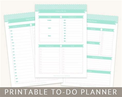 printable planner a4 to do planner kit organizer pages monthly weekly daily