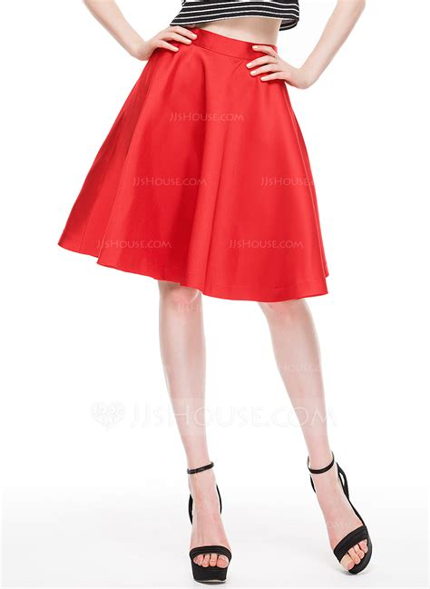 a line princess knee length satin cocktail skirt