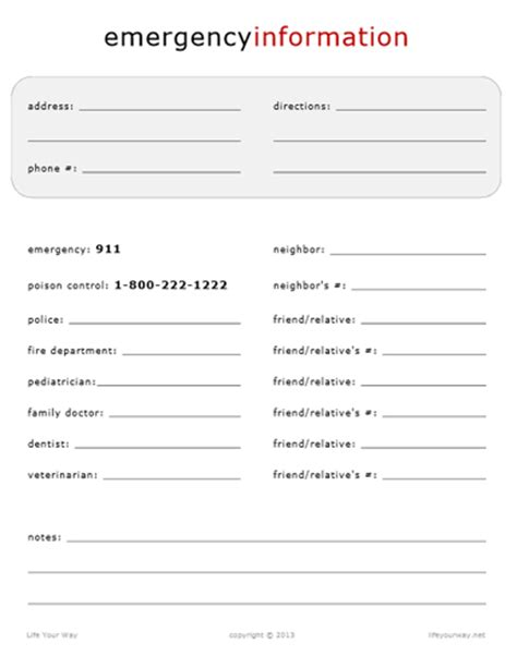 emergency information template emergency information your way