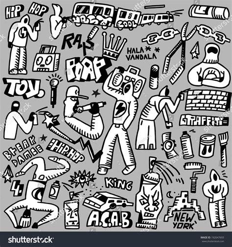 doodle hip hop raphip hop graffiti doodles set stock vector 192047693