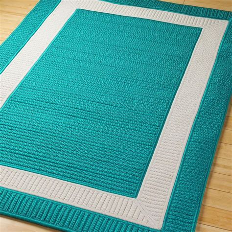 Turquoise Outdoor Rugs Border Braided Indoor Outdoor Rug Available In 11 Colors Navy Blue