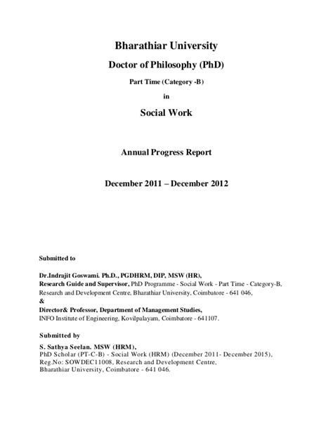 phd progress report template phd annual report page detailed table of contents