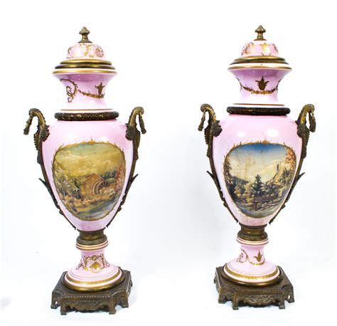 Ormolu Vase by Vintage Pair Sevres Style Porcelain Ormolu Vases