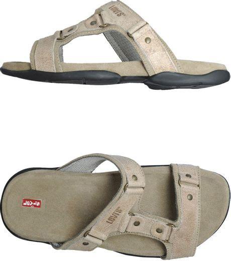 Sandal Wedges Heels Clog Wanita Vkt 420 levi s flip flops clog sandals in beige for lyst