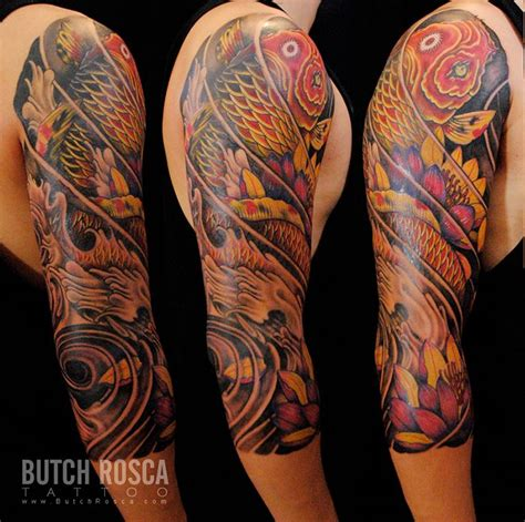koi tattoo sleeve designs asian half sleeve designs by butch rosca