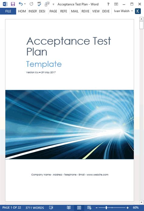 software test plan template word acceptance test plan template ms word instant