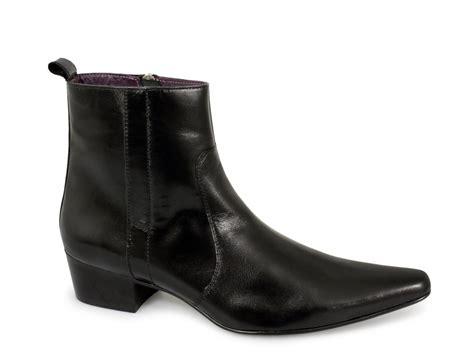 mens winklepicker boots gucinari mens cuban heel winklepicker boots black buy at