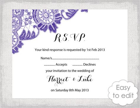 rsvp reply template items similar to lace rsvp template instant diy