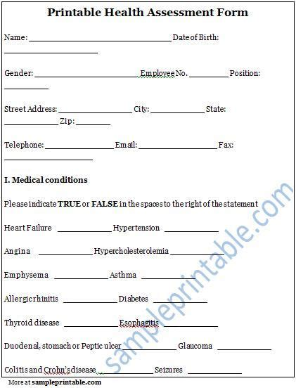 printable health assessment questionnaire printable mental health assessment forms pokemon go