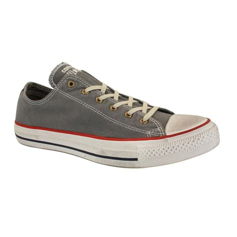 Converse Chuck Grey converse chuck washed canvas ox 139913c unisex laced canvas trainers grey