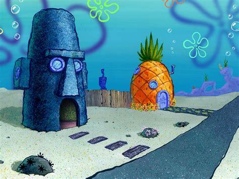 casa spongebob papel de parede casa de bob esponja e lula molusco